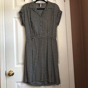 Loft Black & White Floral Print Mini Shirt Dress